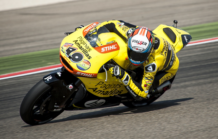 rins: Alex Rins at Movistar GP of Aragon MotoGP at Motorland Aragon Circuit on September 27, 2015 in Alcaiz, Aragon, Spain.