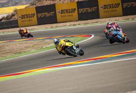 Alex Rins and Jorge Lorenzo at Movistar GP of Aragon MotoGP at Motorland Aragon Circuit on September 27, 2015 in Alcaiz, Aragon, Spain. Editorial