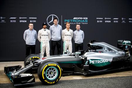 formula one: BARCELONA, SPAIN - FEBRUARY 22, 2016: Mercedes AMG new car presentation during Formula One Test Days 2016 at Circuit of Barcelona Catalunya.