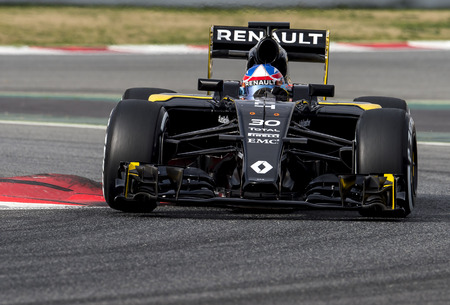 palmer: BARCELONA, SPAIN - FEBRUARY 22, 2016: Driver Joylon Palmer of Renault during Formula One Test Days 2016 at Circuit of Barcelona Catalunya.