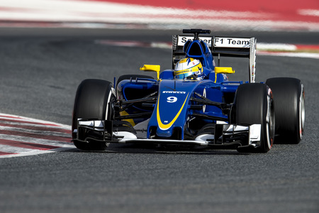 formula one: BARCELONA, SPAIN - FEBRUARY 22, 2016: Marcus Ericsson of Sauber during Formula One Test Days 2016 at Circuit of Barcelona Catalunya.