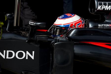 formula: BARCELONA, SPAIN - FEBRUARY 22, 2016: Driver Jenson Button of McLaren Honda Formula One Test Days During 2016 at Circuit of Catalunya Barcelona.