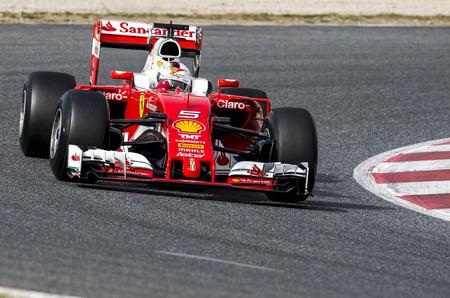 vettel: BARCELONA, SPAIN - FEBRUARY 22, 2016: Sebastian Vettel at Formula One Test Days at Catalunya Circuit on February 22, 2016 in Barcelona, Spain.