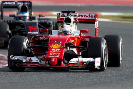 BARCELONA, Spanje - 23 februari 2016: Sebastian Vettel van Driver Ferrari Formula One Test Days In 2016 Circuit de Barcelona-Catalunya