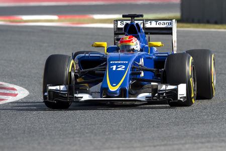 sauber: BARCELONA, SPAIN - FEBRUARY 25, 2016: Felipe Nasr of Sauber Formula One Test Days During 2016 at Circuit de Barcelona-Catalunya