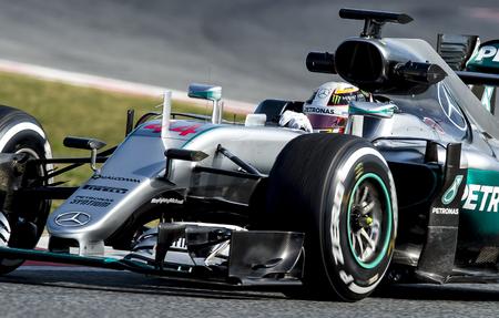 formula: BARCELONA, SPAIN - FEBRUARY 25, 2016: Lewis Hamilton Formula One Test Days During 2016 at Circuit de Barcelona-Catalunya