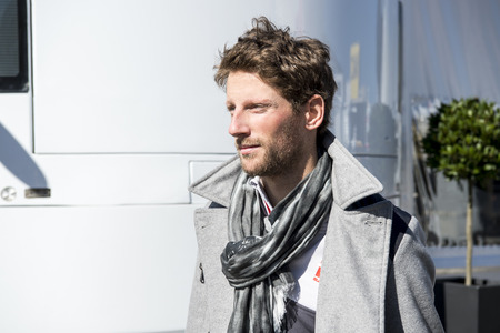 formula one: BARCELONA, SPAIN - MARCH 1, 2016: Romain Grosjean at Formula One Test Days at Catalunya Circuit on March 1, 2016 in Barcelona, Spain.
