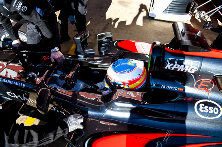 formula one: BARCELONA, SPAIN - MARCH 1, 2016: Fernando Alonso at Formula One Test Days at Catalunya Circuit on March 1, 2016 in Barcelona, Spain.