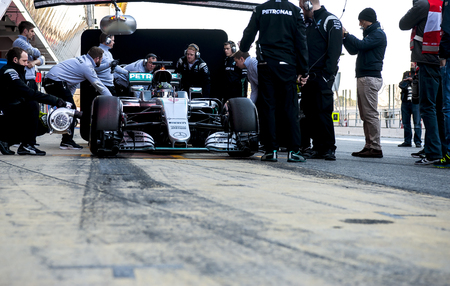 formula one: BARCELONA, SPAIN - MARCH 1, 2016: Nico Rosberg at Formula One Test Days at Catalunya Circuit on March 1, 2016 in Barcelona, Spain. Editorial