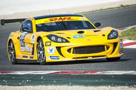 motorcars: BARCELONA, SPAIN - APRIL 3, 2016: L. Tsoney at CEC and CER Championship at Circuit de Catalunya Barcelona, ??in Barcelona, ??Spain.