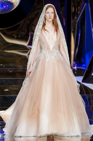 BARCELONA, SPAIN - APRIL 27, 2016: Yolan Cris catwalk during Barcelona Bridal Fashion Week 2016.