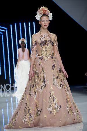 BARCELONA, SPAIN - APRIL 27, 2016: Isabel Sanchis catwalk during Barcelona Bridal Fashion Week 2016.