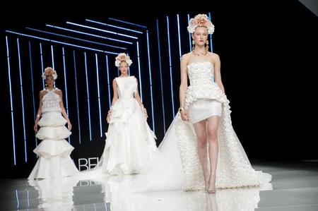 isabel: BARCELONA, SPAIN - APRIL 27, 2016: Isabel Sanchis catwalk during Barcelona Bridal Fashion Week 2016.