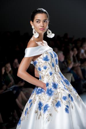 bouffant: BARCELONA, SPAIN - APRIL 27, 2016: Naeem Khan catwalk during Barcelona Bridal Fashion Week 2016. Editorial
