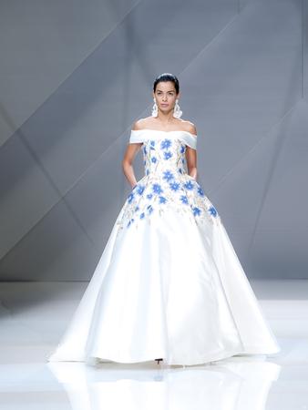 BARCELONA, SPAIN - APRIL 27, 2016: Naeem Khan catwalk during Barcelona Bridal Fashion Week 2016. Editorial