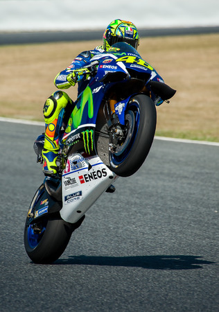 tournament: BARCELONA, SPAIN - JUNE 5, 2016: Valentino Rossi at GP of Catalunya of MotoGP at Circuit of Barcelona-Catalunya.