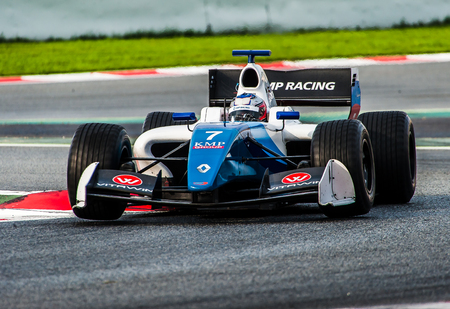 Barcelona, Spain - November 5, 2016: Egor Orudzhev of Formula V8 3.5 during International GT Open at Circuit of Barcelona Catalonia.