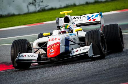 Barcelona, Spain - November 5, 2016: Yu Kanamaru of Formula V8 3.5 during International GT Open at Circuit of Barcelona Catalonia. Editorial