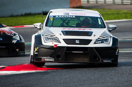 Barcelona, Spain - November 5, 2016: M. Azcona at Seat Leon Eurocup during International GT Open at Circuit of Barcelona Catalonia.