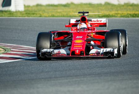 vettel: BARCELONA, SPAIN  MARCH 1, 2017: Sebastian Vettel of Ferrari at Formula One Test Days at Circuit of Barcelona Catalunya