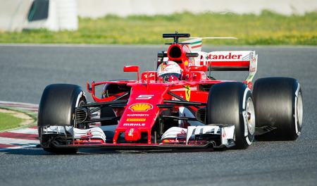 BARCELONA, SPAIN  MARCH 1, 2017: Sebastian Vettel of Ferrari at Formula One Test Days at Circuit of Barcelona Catalunya