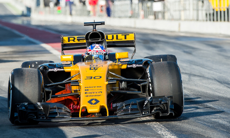 BARCELONA, SPAIN MARCH 2, 2017: J. Palmer of Renault at Formula One Test Days at Circuit of Barcelona Catalunya