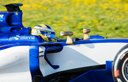 BARCELONA, SPAIN  FEBRUARY 27, 2017: Marcus Ericsson of Sauber at Formula One Test Days at Circuit of Barcelona Catalunya Editorial