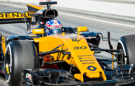 BARCELONA, SPAIN  MARCH 2, 2017: J. Palmer of Renault at Formula One Test Days at Circuit of Barcelona Catalunya Editorial