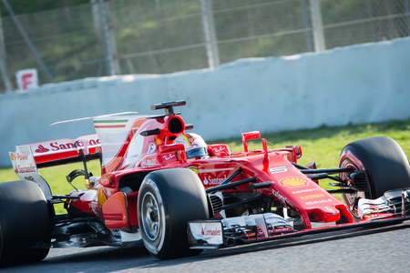 vettel: BARCELONA, SPAIN  FEBRUARY 27, 2017: Sebastian Vettel at Formula One Test Days at Circuit of Barcelona Catalunya Editorial