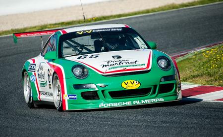motorcars: Porsche Almeras at V de V Endurance Series that celebrates at Circuit de Barcelona Catalunya on March 17-19 of 2017 in Barcelona, Spain. Editorial