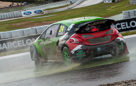 Barcelona, Spain - April 1, 2017: Tommy Rustad during FIA World Rallycross that celebrates at Circuit of Barcelona Catalunya. Editorial