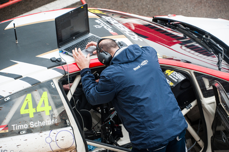 Barcelona, Spain - April 1, 2017: Mechanich FIA World Rallycross that celebrates at Circuit of Barcelona Catalunya. Editorial