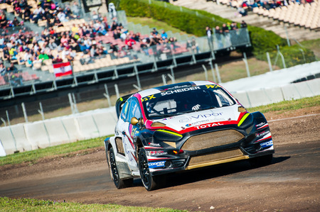 Barcelona, Spain - April 2, 2017: Scheider at FIA World Rallycross that celebrates at Circuit of Barcelona Catalunya. Editorial
