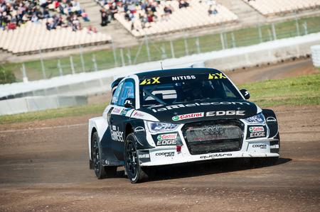 Barcelona, Spain - April 2, 2017: Reinis Nittis at FIA World Rallycross that celebrates at Circuit of Barcelona Catalunya.