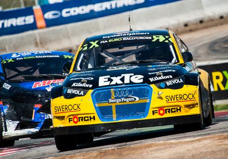 Barcelona, Spain - April 2, 2017: Robin Larsson at FIA World Rallycross that celebrates at Circuit of Barcelona Catalunya. Editorial