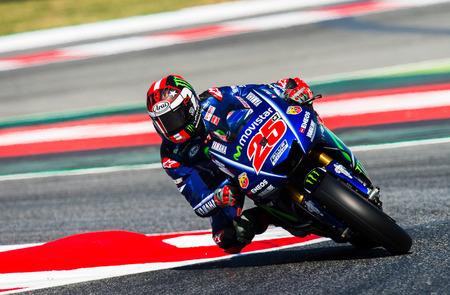 BARCELONA, ESPAÑA 10 DE JUNIO DE 2017: Maverick Viales durante GP Monster Energy de Catalunya de MotoGP en el Circuito de Barcelona-Catalunya. Editorial