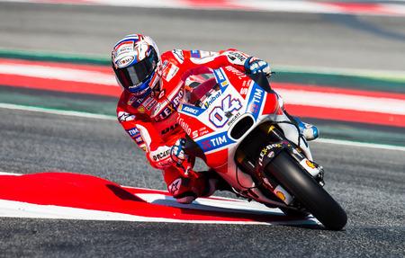 BARCELONA, SPAIN  JUNE 10, 2017: Andrea Dovizioso during GP Monster Energy of Catalunya of MotoGP at Circuit of Barcelona-Catalunya. Editorial