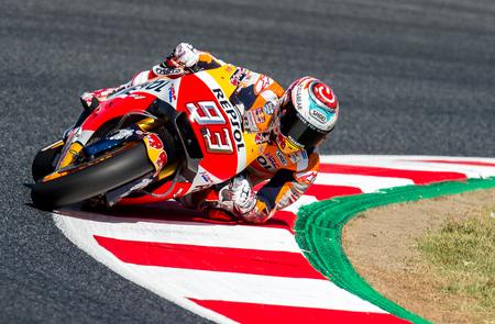 BARCELONA, SPAIN  JUNE 10, 2017: Marc Marquez during GP Monster Energy of Catalunya of MotoGP at Circuit of Barcelona-Catalunya. Editorial