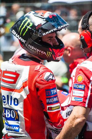 superbike: BARCELONA, SPAIN  JUNE 11, 2017: Jorge Lorenzo during GP Monster Energy of Catalunya of MotoGP at Circuit of Barcelona-Catalunya. Editorial