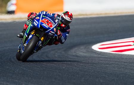 BARCELONA, SPAIN  JUNE 11, 2017: Maverick Viales during GP Monster Energy of Catalunya of MotoGP at Circuit of Barcelona-Catalunya. Editorial