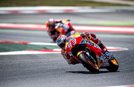 superbike: BARCELONA, SPAIN  JUNE 11, 2017: Marc Marquez during GP Monster Energy of Catalunya of MotoGP at Circuit of Barcelona-Catalunya.