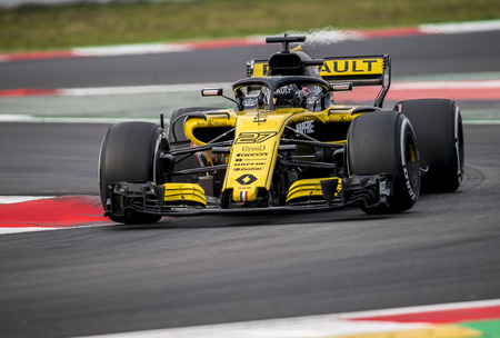 BARCELONA, SPAIN – FEBRUARY 26, 2018: Nico Hulkenberg during Formula One Test Days that celebrates at Circuit of Barcelona Catalunya.