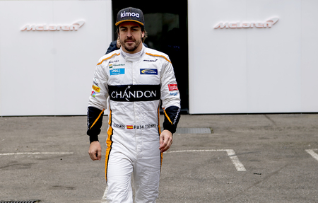 BARCELONA, SPAIN – FEBRUARY 26, 2018: Fernando Alonso during Formula One Test Days that celebrates at Circuit of Barcelona Catalunya.