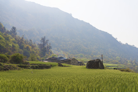 Mountain Village and green field in Nepalese highlands photo