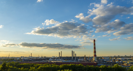 Moscow Oil processing plant at sunset