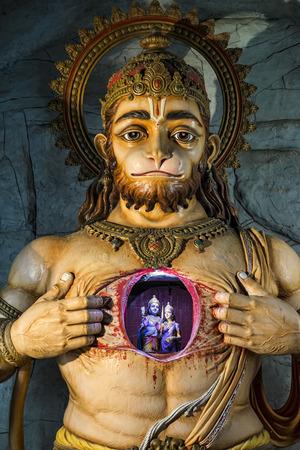 hanuman: Illuminated statue of Hanuman showing Rama and Sita