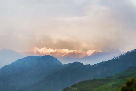Snow range mountains at spring Himalayas painting Stock Photo