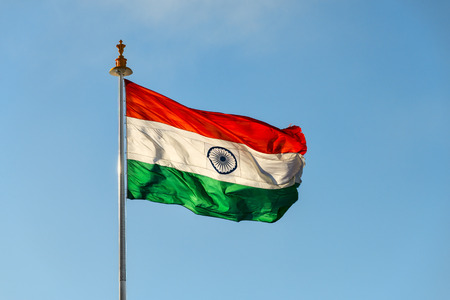 Flag of India on wind