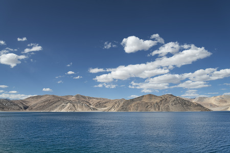 ridge of wave: Deep blue mountain lake in Himalaya