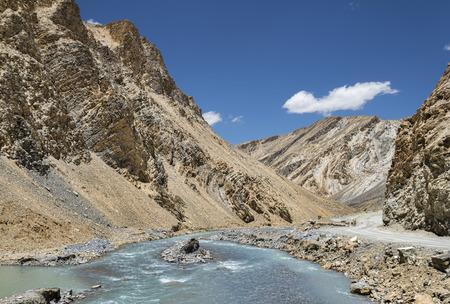river flow in ravine of Ladakh mountains photo